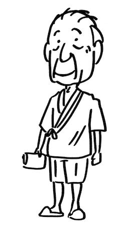 入院患者おじいさん線画