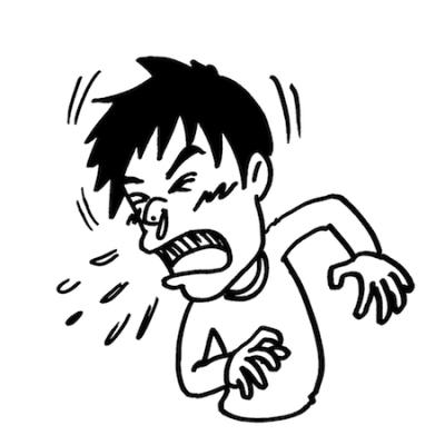 大きなくしゃみをする男性線画