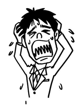 頭を抱えて叫ぶ男性イラスト線画