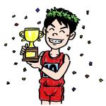 優勝するマラソンランナー男性