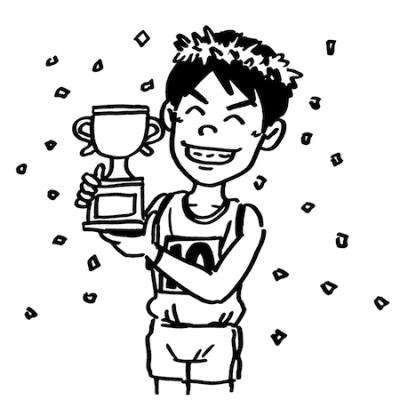 優勝するマラソンランナー線画