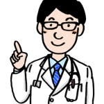 人差し指で説明する医者