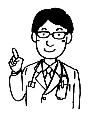人差し指で説明する医者線画