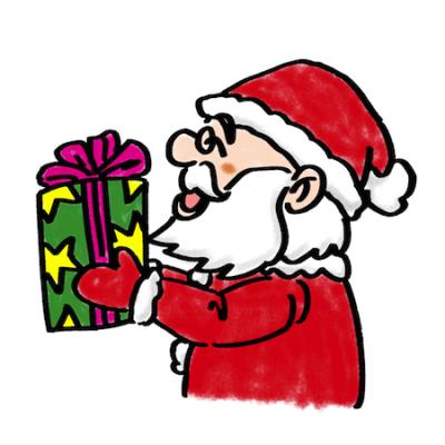プレゼントを渡すサンタクロースイラスト