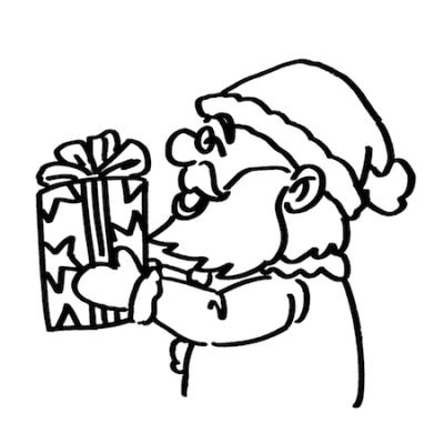 プレゼントを渡すサンタクロース線画