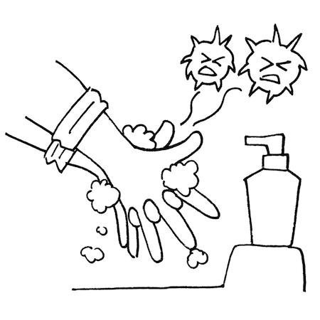 指の間まで手洗いイラスト線画