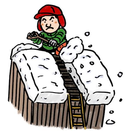 雪下ろし男性イラスト