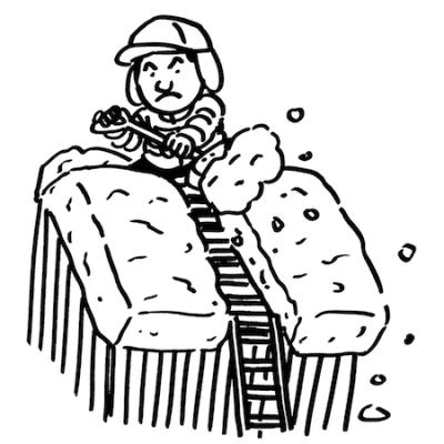 雪下ろし男性イラスト線画