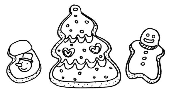 クリスマスクッキーお菓子イラスト線画