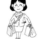 買い物をする女性イラスト線画
