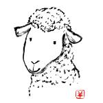 かすれタッチの羊イラスト