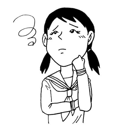 悩んで困った顔女子学生イラスト線画
