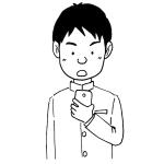 スマホを見ている男子高校生イラスト線画