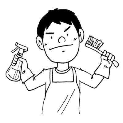 掃除をする男性イラスト線画