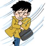 強風の中を歩く男性イラスト