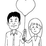 ハート型風船カップル男女イラスト線画