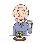 薬を飲む高齢者イラスト