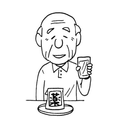 薬を飲む高齢者イラスト線画