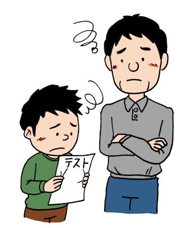 成績が悪く悩む親子イラスト