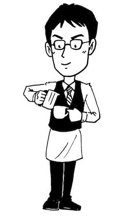 コーヒーバリスタ男性線画