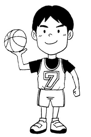 バスケットボール子ども線画