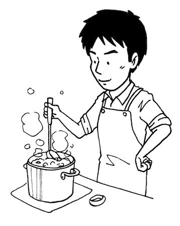 料理が上手い男性線画