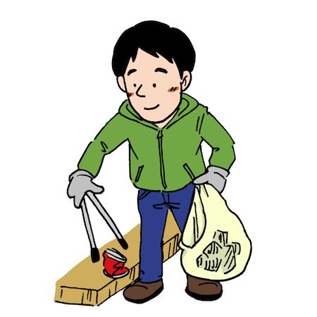 ゴミ拾い男性イラスト