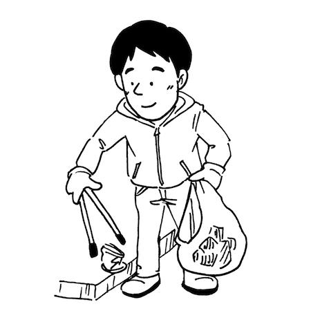 ゴミ拾いをする男性イラスト線画