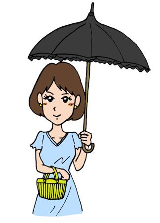日傘をさす女性イラスト