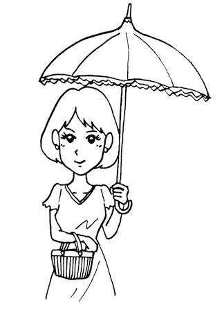 日傘をさす女性モノクロイラスト