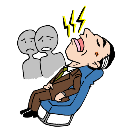 居眠りでいびきをかく男性イラスト