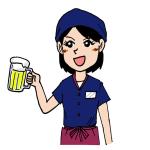 居酒屋女性アルバイトのイラスト