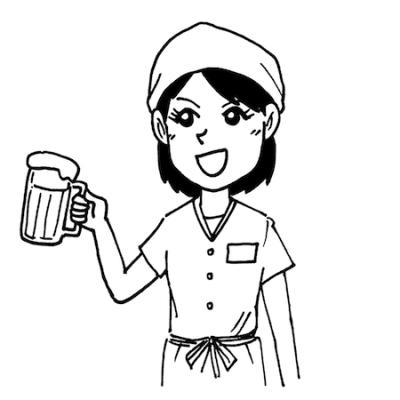 居酒屋アルバイト女性店員線画
