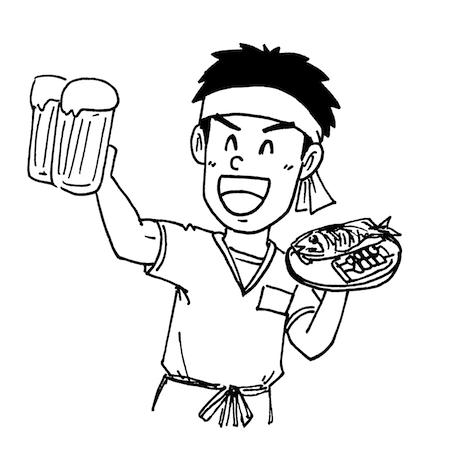 居酒屋アルバイト店員イラスト線画