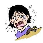 毛虫に驚く女性イラスト
