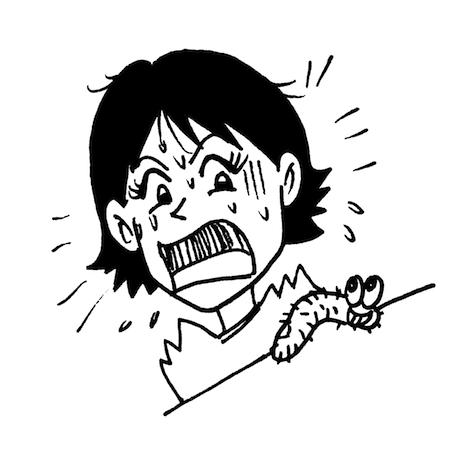 毛虫に驚く女性モノクロイラスト
