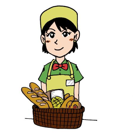 パン屋さんの販売店員さんイラスト