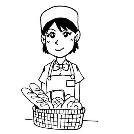 パン屋さんの販売店員さん線画