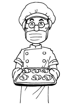 パン職人のイラスト線画