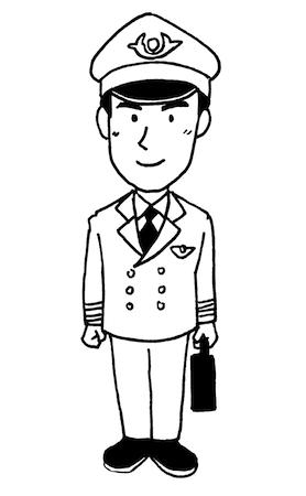 飛行機パイロット男性線画