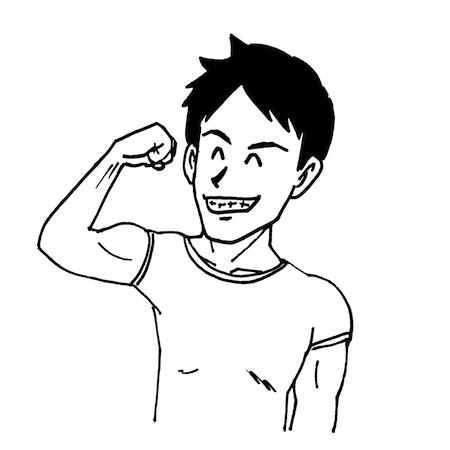 力こぶを見せる男性線画イラスト