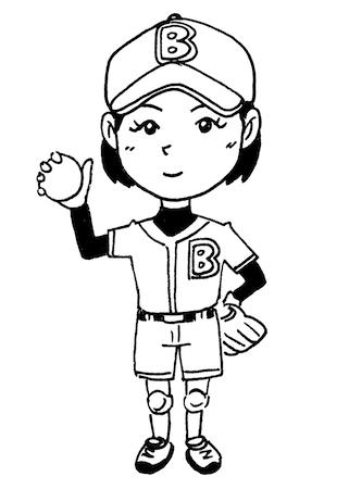 子どもソフトボール線画