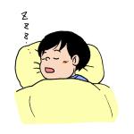 布団で寝ている子どもイラスト