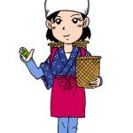 お茶摘みをする女性イラスト
