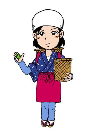 お茶摘み体験をする女性イラスト