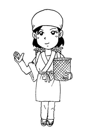 お茶摘みをする女性イラスト線画