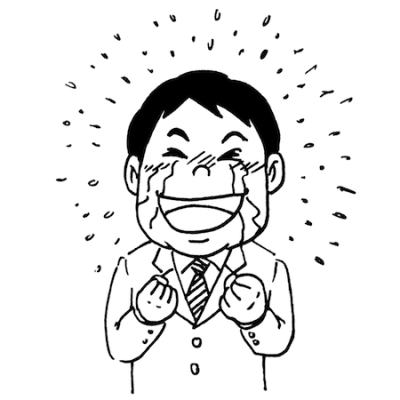 嬉し泣きする男性線画