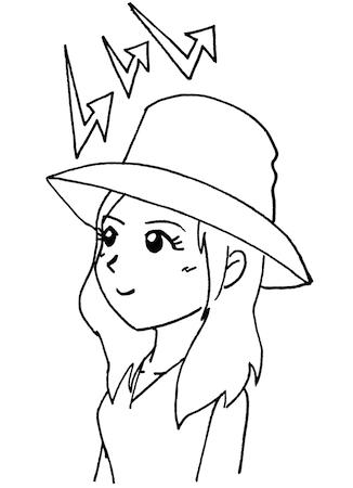 帽子で日焼け防止する女性イラスト線画