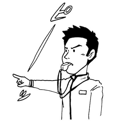 ホイッスルを吹く男性モノクロイラスト