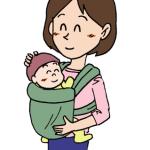 抱っこ紐を使う母親イラスト